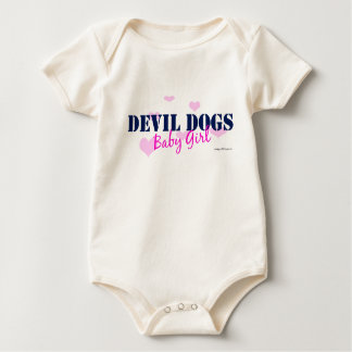 Devil Dogs Baby Girl - with hearts Baby Bodysuit