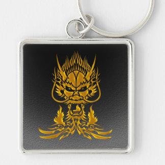 Devil Dragon gold Silver-Colored Square Key Ring