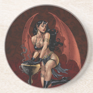 Devil Girl Witch s Cauldron Smoking Gothic Art Beverage Coasters