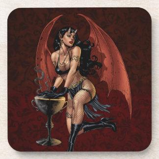Devil Girl Witch s Cauldron Smoking Gothic Art Coasters