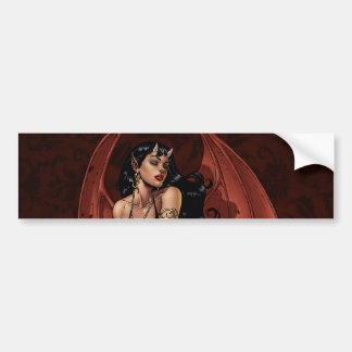 Devil Girl Witch's Cauldron Smoking Gothic Art Bumper Sticker