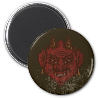 Devil Head (faded red) 6 Cm Round Magnet