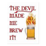 Devil Made Me Brew It - beer Postcard