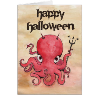 Devil Octopus Halloween Greeting Card