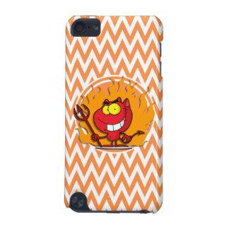 Devil; Orange and White Chevron iPod Touch (5th Generation) Covers