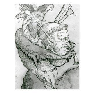 Devil Playing Man's Head as a Saxophone, 1144 Postcard