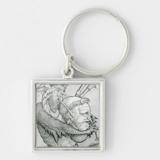 Devil Playing Man's Head as a Saxophone, 1144 Silver-Colored Square Key Ring
