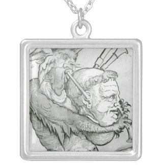 Devil Playing Man's Head as a Saxophone, 1144 Silver Plated Necklace