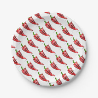 Devil Red Hot Chilli Pepper Cartoon Character 7 Inch Paper Plate