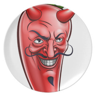 Devil Red Hot Chilli Pepper Cartoon Character Party Plates