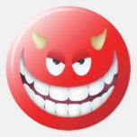 Devil Smiley Face 2 Round Sticker
