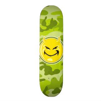 Devil Smiley Face; bright green camo, camouflage Skate Boards