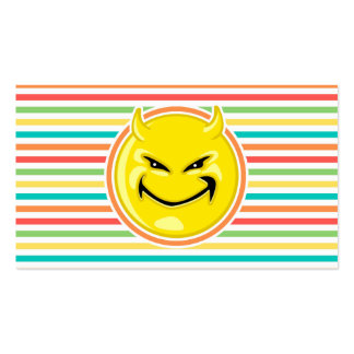 Devil Smiley Face on Bright Rainbow Stripes Business Card Templates