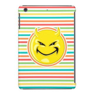 Devil Smiley Face on Bright Rainbow Stripes iPad Mini Retina Cover