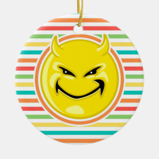 Devil Smiley Face on Bright Rainbow Stripes Double-Sided Ceramic Round Christmas Ornament