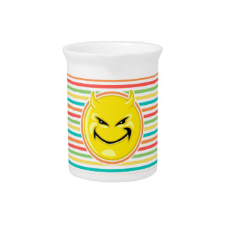 Devil Smiley Face on Bright Rainbow Stripes Drink Pitcher
