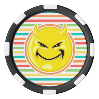 Devil Smiley Face on Bright Rainbow Stripes Set Of Poker Chips