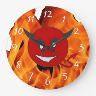 Devil smiley large clock