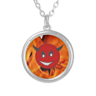 Devil smiley silver plated necklace