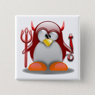 Devil Tux (Linux Tux) 15 Cm Square Badge