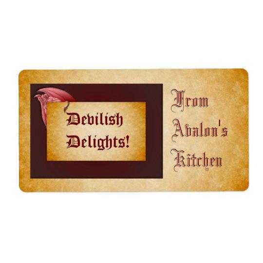Devilish Delights Halloween Treats Baking Label Shipping Label