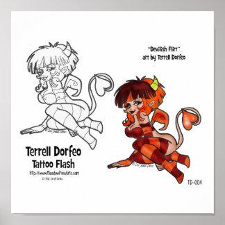 """""""Devilish Flirt"""" TATTOO FLASH Print"""