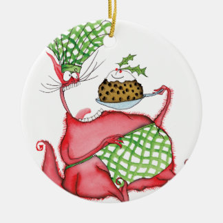 devilled cat with xmas pud, tony fernandes round ceramic decoration