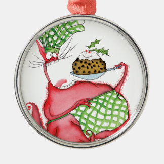 devilled cat with xmas pud, tony fernandes Silver-Colored round decoration