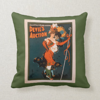 Devil's Auction Woman in Costume Theatre 2 Throw Pillow