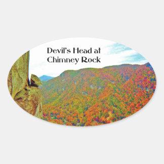 Devil's Head Rock Formation over Chimney Rock Oval Sticker