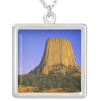 Devils Tower National Monument in Wyoming Silver Plated Necklace