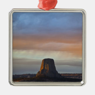 Devils Tower National Monument, Storm at Sunset Christmas Ornament
