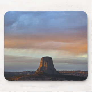 Devils Tower National Monument, Storm at Sunset Mouse Mat