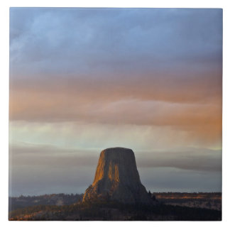 Devils Tower National Monument, Storm at Sunset Tile