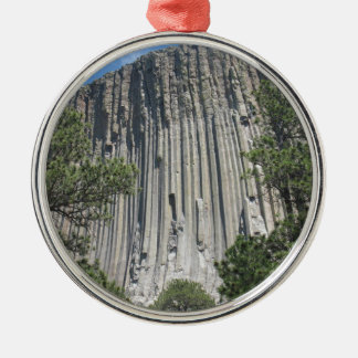 Devils Tower Silver-Colored Round Decoration