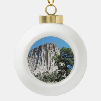 Devils Tower Wyoming Ceramic Ball Christmas Ornament