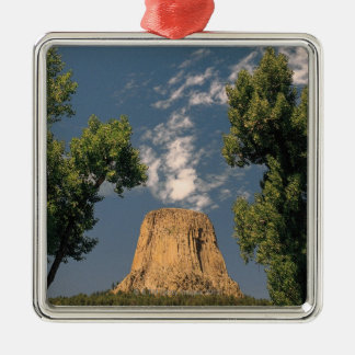 Devil's Tower , Wyoming , USA Silver-Colored Square Decoration