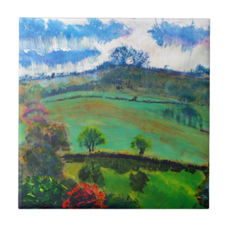 Devon England Countryside Landscape Painting Small Square Tile