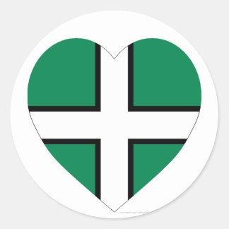 Devon Flag Heart Round Stickers