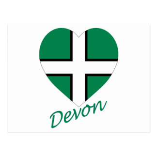 Devon Flag Heart with Name Post Card