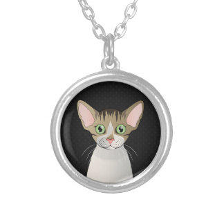 Devon Rex Cat Cartoon Paws Round Pendant Necklace