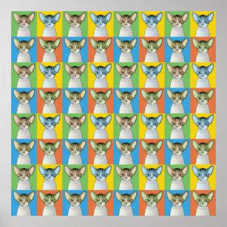 Devon Rex Cat Cartoon Pop-Art Posters