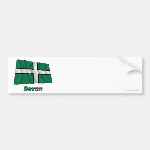 Devon Waving Flag with Name Bumper Stickers