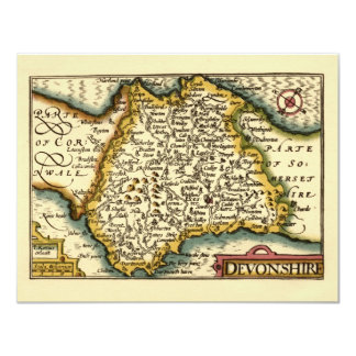"""Devonshire"" Devon County Map, England 11 Cm X 14 Cm Invitation Card"