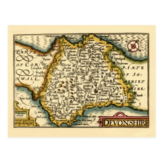 """Devonshire"" Devon County Map, England Postcard"