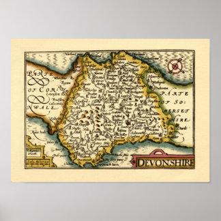 """Devonshire"" Devon County Map, England Poster"