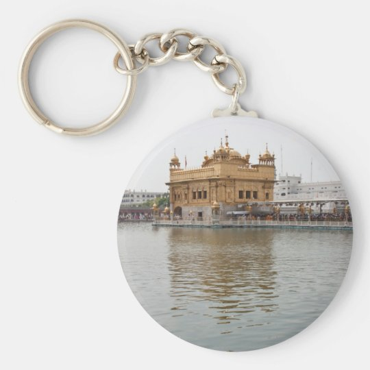Devotees and Golden Temple in Amritsar Basic Round Button Key Ring