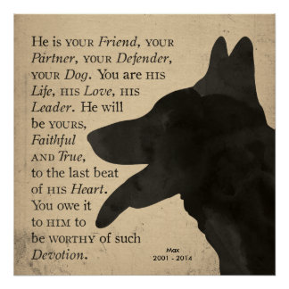 """Devotion"" Vintage German Shepherd Dog Poster"