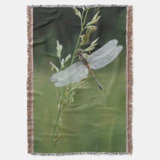 Dew covered Darner Dragonfly Throw Blanket