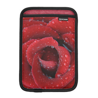 Dew covered red rose decorating grave site in iPad mini sleeve